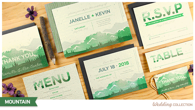 Invite friends and family to join you for a rustic getaway wedding in the mountains with these Seed Paper Wedding Invitations that grow wildflowers.