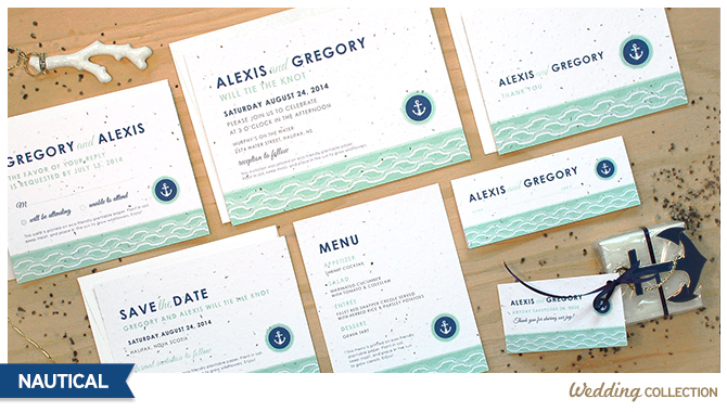 These Nautical Plantable Wedding Invitations are printed on seed paper that will grow wildflowers when planted and leave no waste behind.