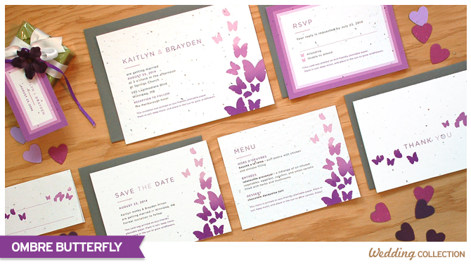 These Ombre Butterfly Seed Paper Wedding Invitations are printed on eco-friendly seed paper.