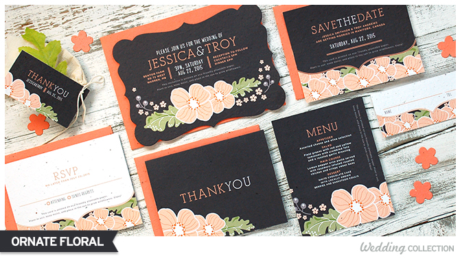 These Ornate Floral Plantable Wedding Invitations are 100% eco-friendly!