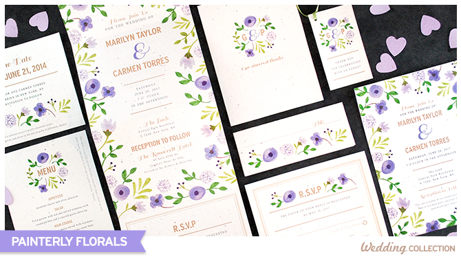 Made with biodegradable post-consumer materials, these Painterly Florals Plantable Wedding Invitations are embedded with seeds that grow wildflowers when planted.