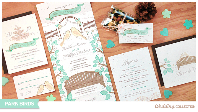 These Park Birds Seed Paper Wedding Invitations grow wildflowers when planted.