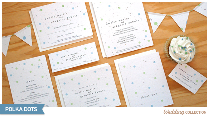 These Polka Dots Seed Paper Wedding Invitations are printed on seed paper embedded with high quality North American wildflower seeds.