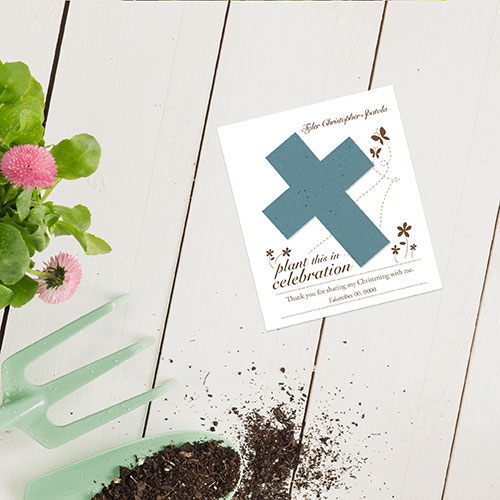 Personalized and plantable cards for religious occasions.