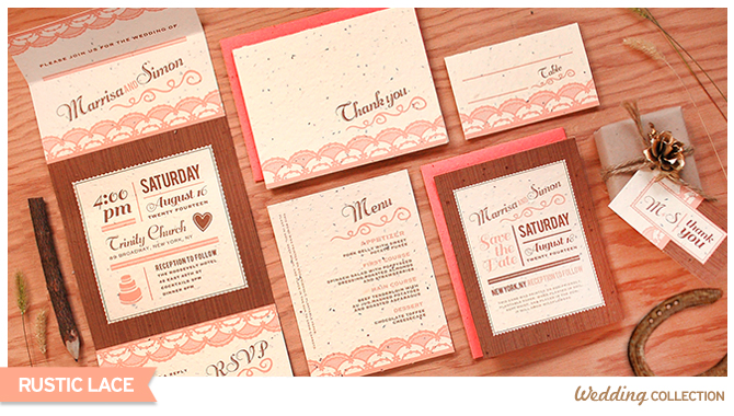 These charming Rustic Lace Seed Paper Wedding Invitations grow wildflowers when planted.