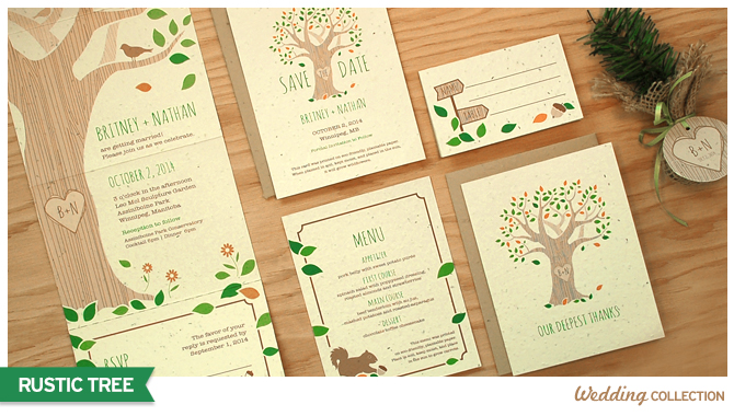 These Rustic Tree Seed Paper Wedding Invitations grow wildflowers when planted.