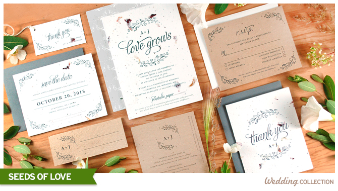 Spread Seeds of Love with this eco-friendly seed paper wedding invitations collection.