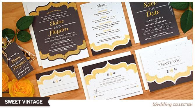 These Sweet Vintage Plantable Wedding Invitations are 100% eco-friendly as they're printed on high quality seed paper that will grow when planted.