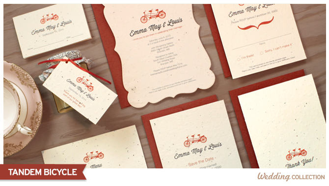 Tandem Bicycle Seed Paper Wedding Invitations are eco-friendly and add a classic and fun touch to your celebration.