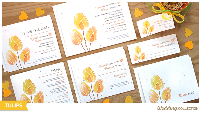 These Watercolor Tulips Plantable Wedding Invitations are both stylish and eco-friendly.