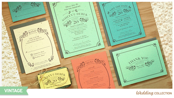 Your guests can plant these Vintage Plantable Wedding Invitations to grow a bouquet of colorful wildflowers.