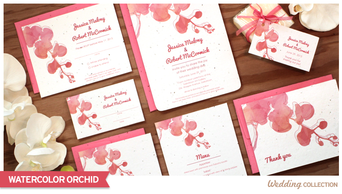 Delicate and simple, these Watercolor Orchid Seed Paper Wedding Invitations are printed on seed paper embedded with high quality North American wildflower seeds.
