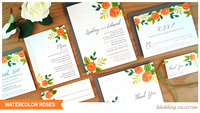 These Watercolor Roses Plantable Wedding Invitations are stylish and eco-friendly.
