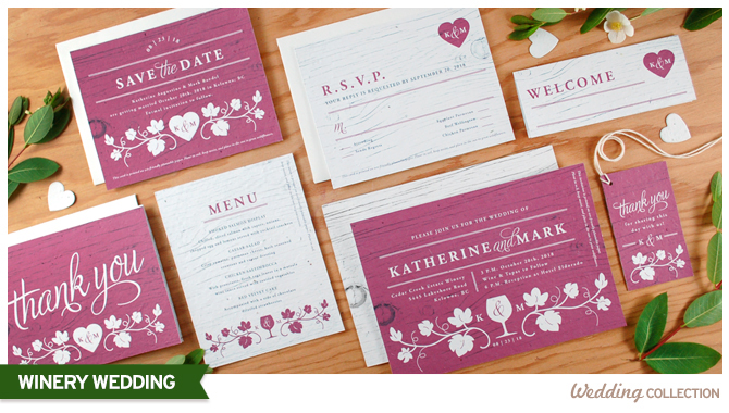Elegant and charming, this seed paper wedding invitations collection is perfect for winery weddings.
