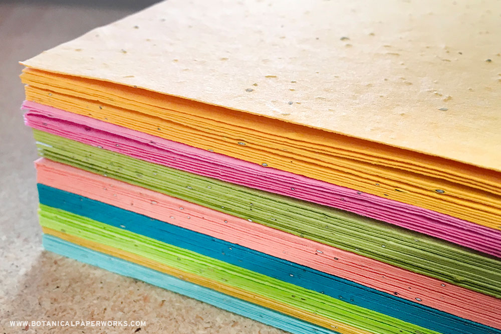 Purchase bulk seed paper sheets from Botanical PaperWorks in a range of sizes, seed types, and colors!