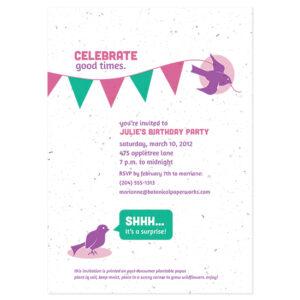 Plantable birthday invitations
