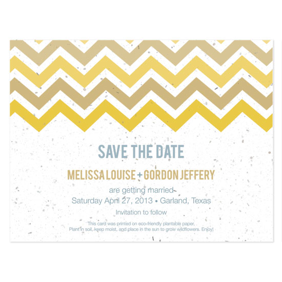 plantable chevron save the date cards