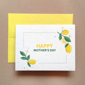Mother's Day seed card with bright yellow envelope