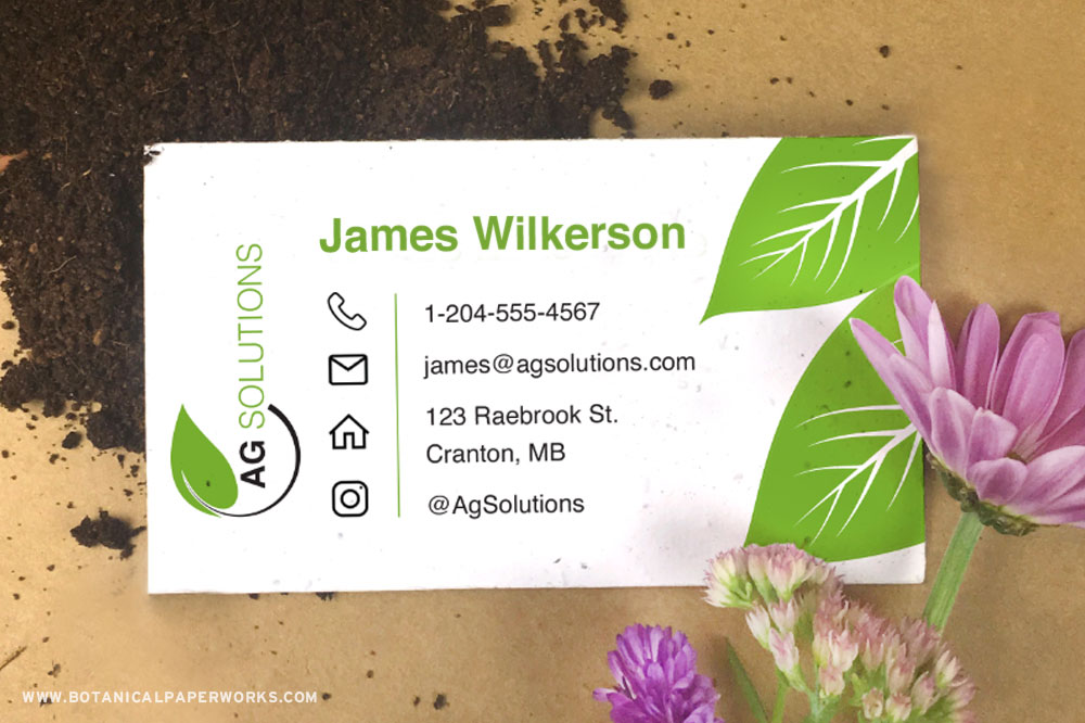 Seed paper business cards with soil and flowers — a promotional product for the agriculture industry.