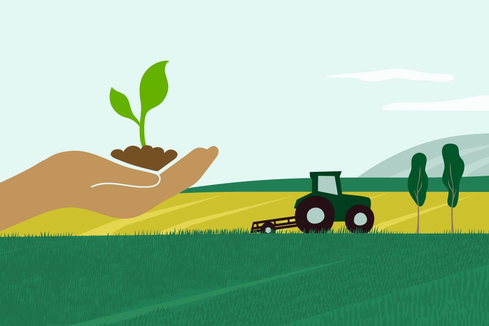 Agriculture-themed graphic illustration with a hand holding a plant.