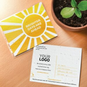 """Seed paper postcard with a sun graphic and text that says """"brighter days are ahead"""""""