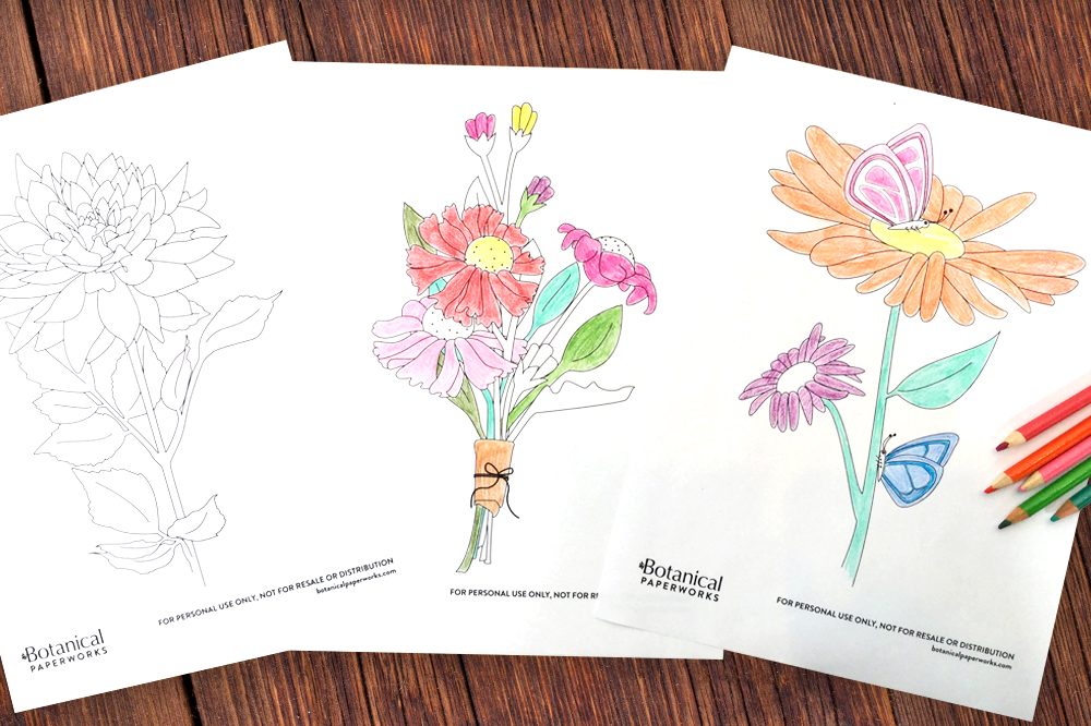 free printable floral coloring pages