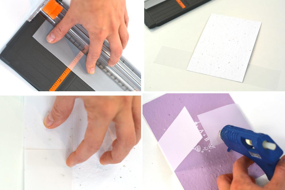 cutting vellum paper for wedding invites