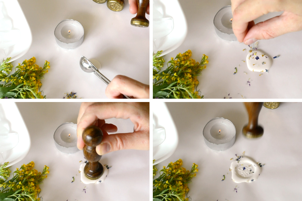 Adding dried flower to wax seal stamp