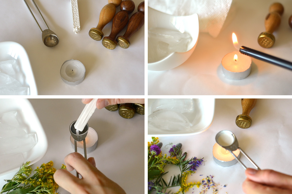 Warming the sealing wax with metal measuring spoon over a candle