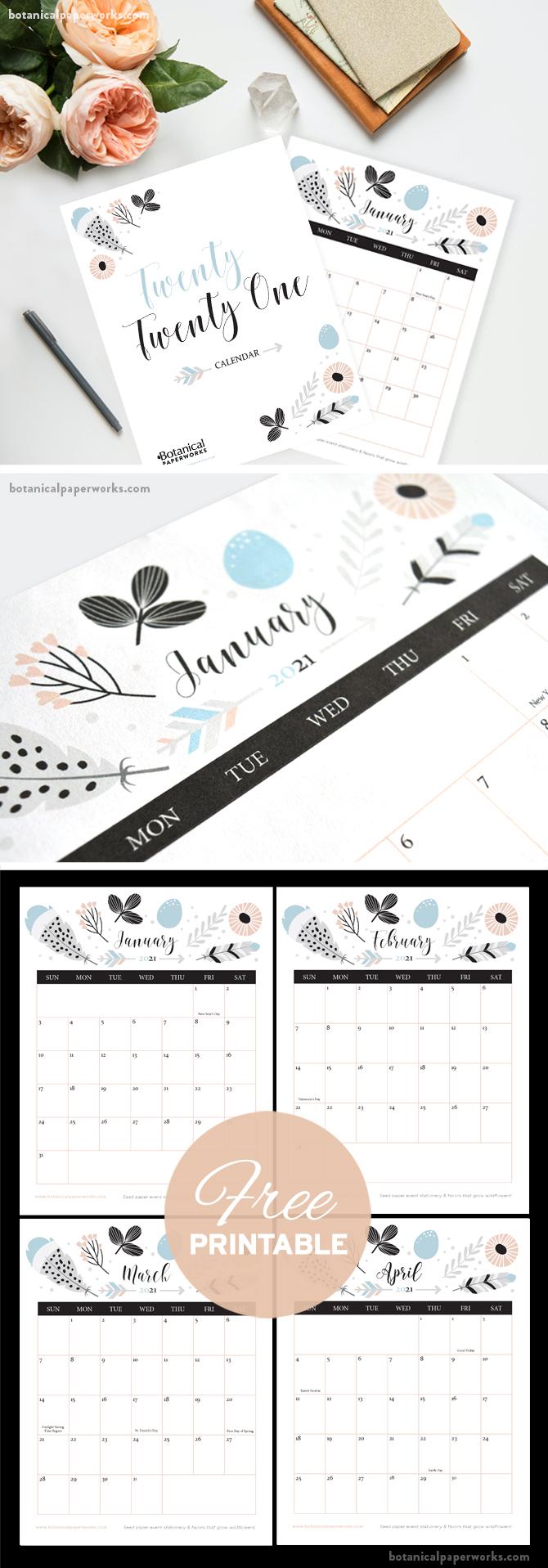 free printable boho style calendar for 2021