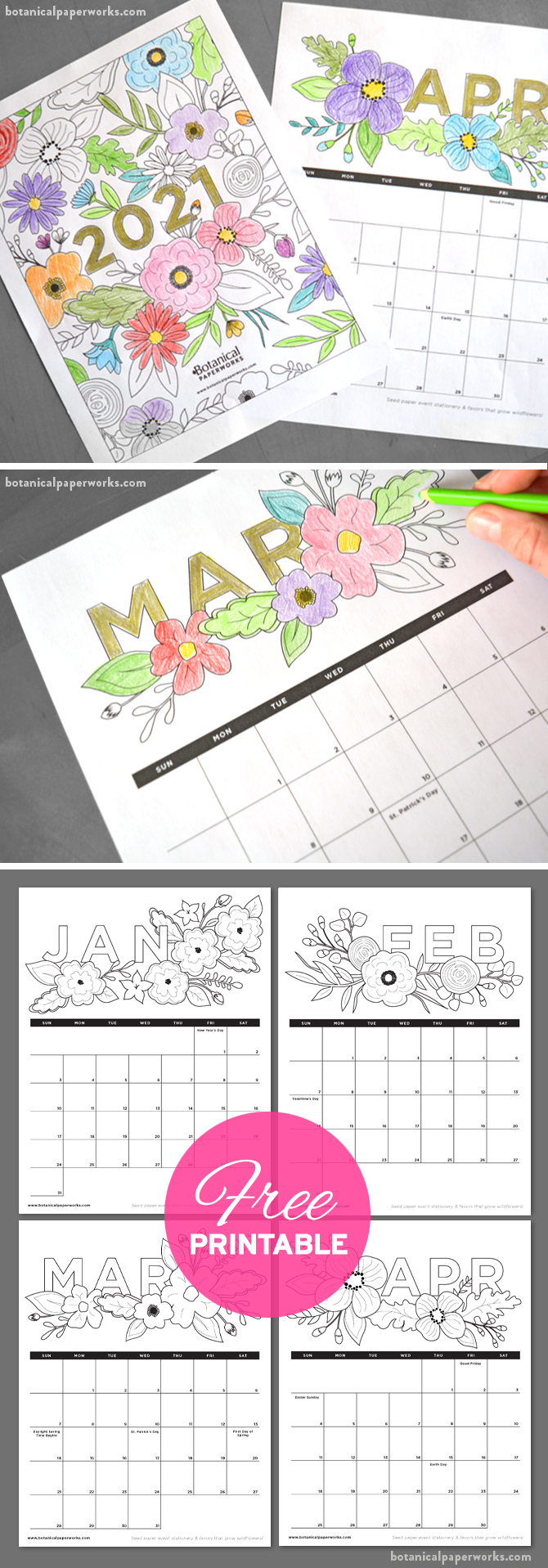 free printable coloring book style calendar for 2021