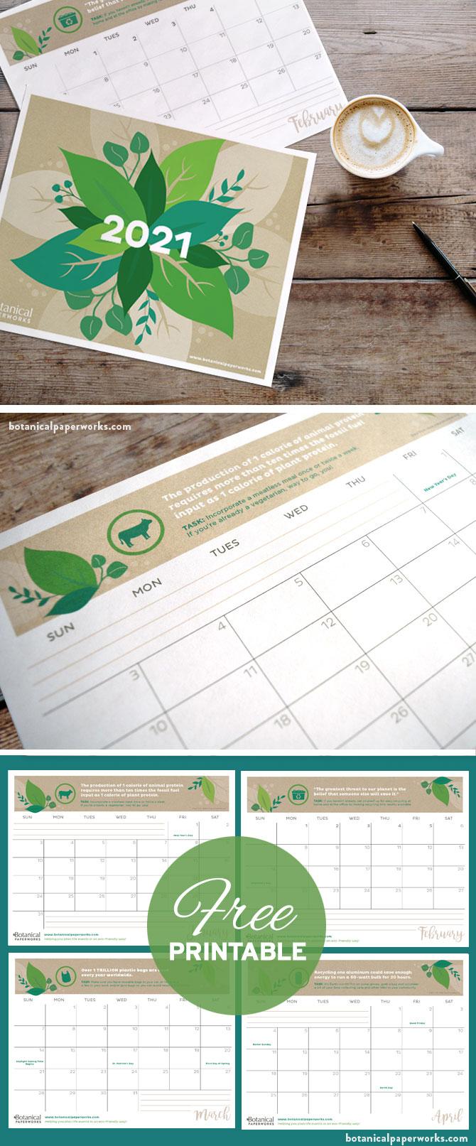 free printable eco tips calendar for 2021