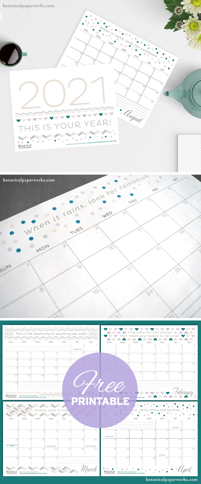 free printable calendar for 2021 with inspirational quotes