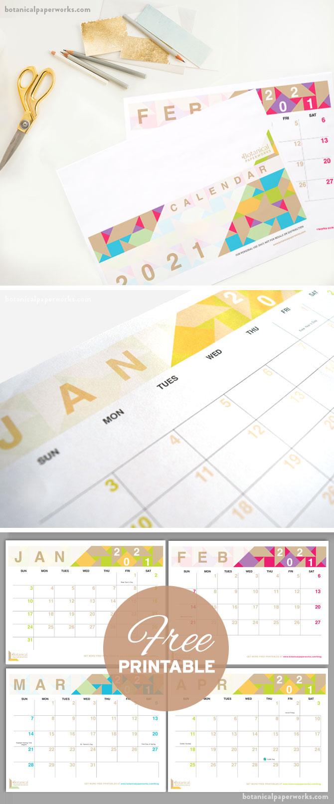 free printable geometric style calendar for 2021