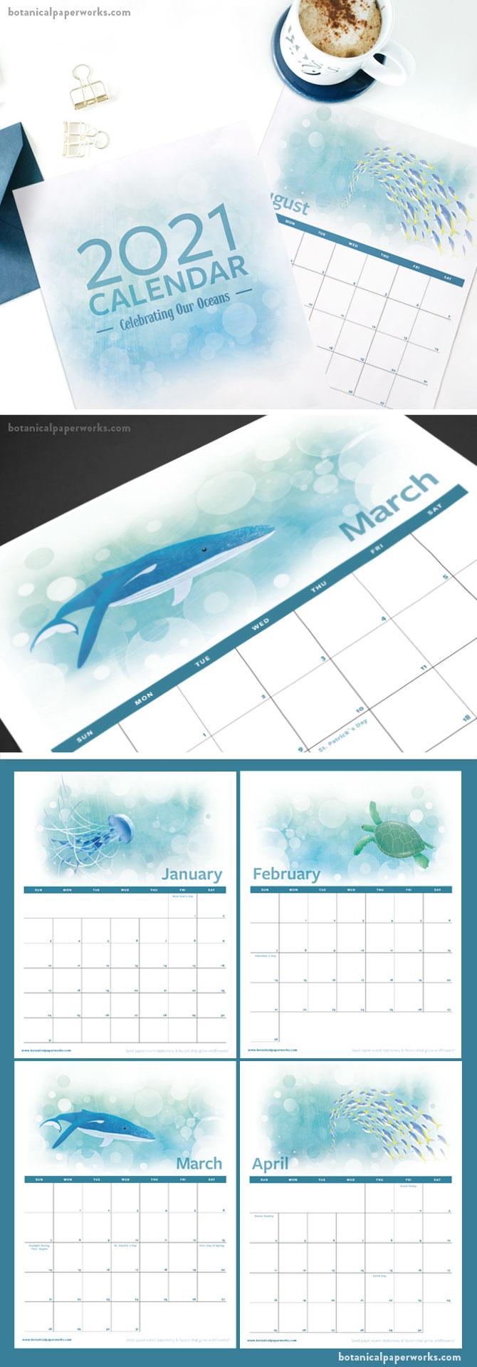 free printable oceans calendar for 2021