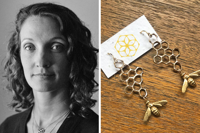 Bee Amour jewelry company founder and designer Anna Gieselman and her bee-inspired earrings with a wildflower-embedded seed paper tag