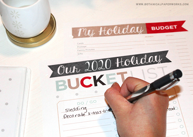 the ultimate holiday planner 2020 bucket list page and budget page