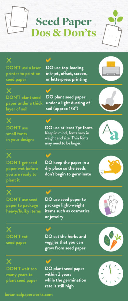 dos and don'ts for printing, designing and planting with plantable seed paper from Botanical PaperWorks
