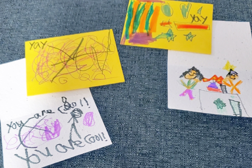 Thoughtful Plantable Seed Saper Card Sets signed by kids to send to seniors in long-term care homes