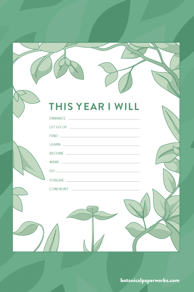 'This Year I Will' Free Printable PDF with new years goals for 2021