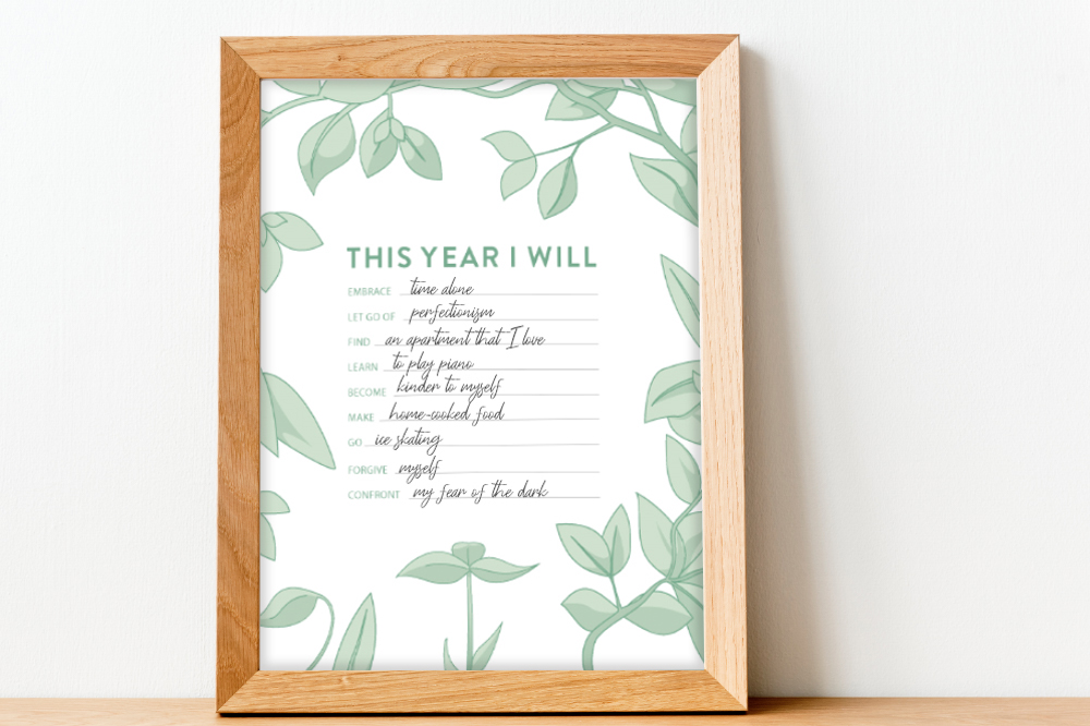 This Year I Will Free Printable PDF in a picture frame with new years goals for 2021