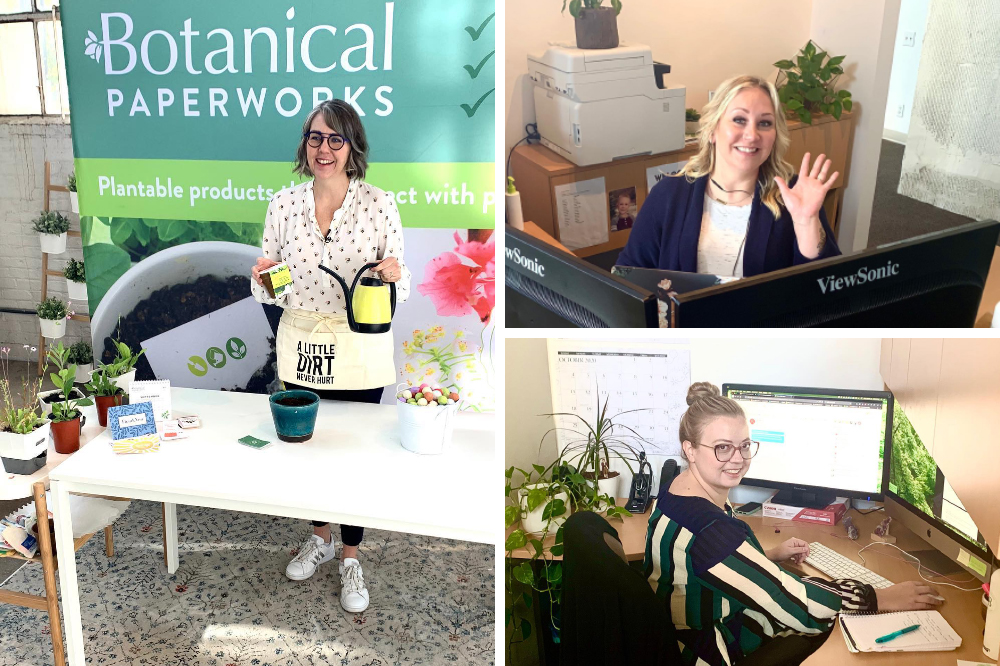 Botanical PaperWorks CEO and Co-Founder doing a planting demonstration for a LIVE Webinar and the Customer Service team chatting online.