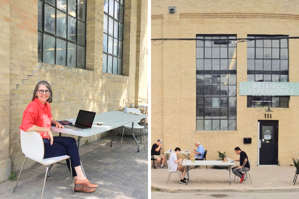 Botanical PaperWorks team members meeting outdoors while physically distanced.