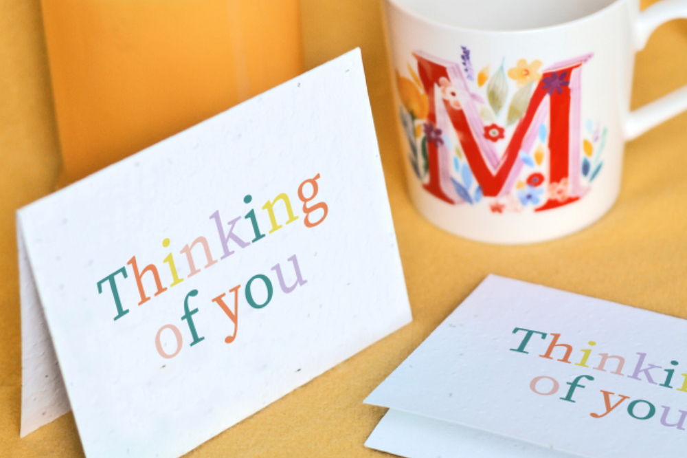 "Thoughtful Plantable Seed Paper Card Set with a ""Thinking of You"" message"