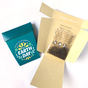 A wildflower seed packet shaped like a plant pot with Earth Day design.