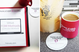 Plantable seed paper coaster gifts for Frame of Mind Coaching's online event