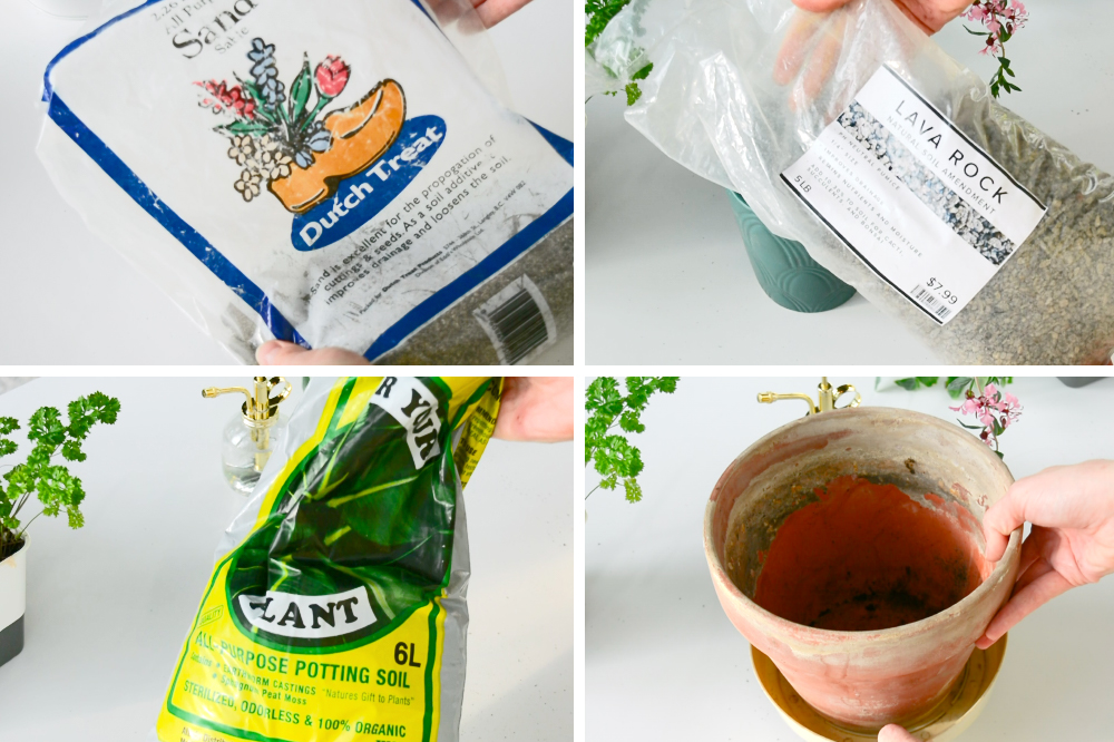 materials to use for your DIY indoor potting soil mix: sand, lava rock, all-purpose potting soil and a pot with a drainage hole