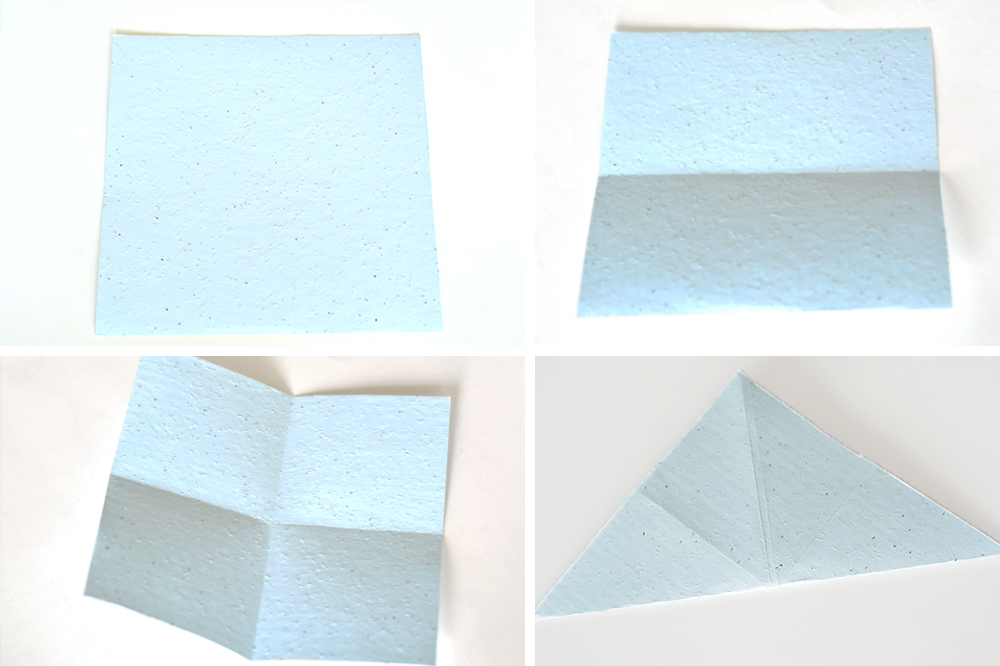 Folding pastel blue seed paper for a DIY gift box that's eco-friendly