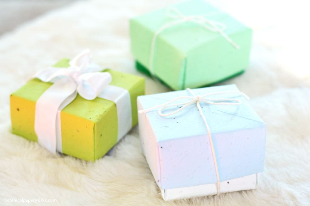 plantable seed paper gift boxes in greens and blues, tied with string and bows
