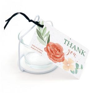 Floral favor tag design on seed paper.